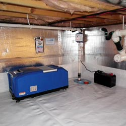 a crawl space vapor barrier and insulation system installed in a home in Sylva
